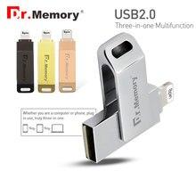 Dr Memory 2 in 1 OTG USB Flash Drive 128GB Flash Metal MFI Pen Drive 32GB
