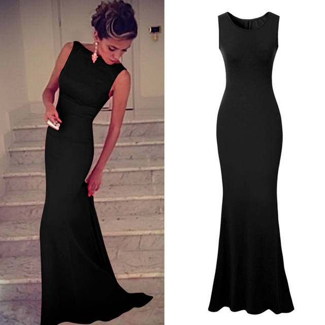 Nueva llegada 2017 vestidos de partido del club de las mujeres dress elegante sin mangas bodycon piso-longitud larga maxi dress