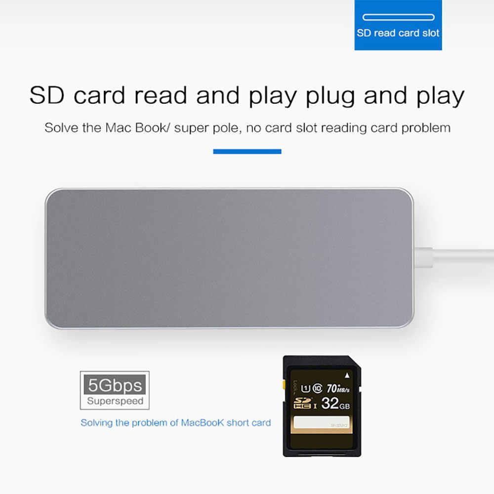 USB C محور إلى HDMI 4 K RJ45 1000 M شبكة الصاعقة 3 محول مع PD TF قارئ البطاقات SD دعم Dex لسامسونج ماك بوك برو/الهواء