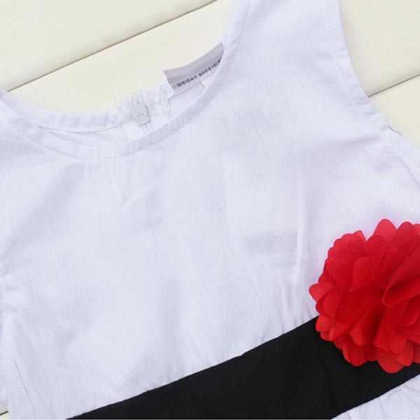 Широкое платье в полоску без рукавов для маленьких девочек пляжное платье с завышенной талией и цветком для малышей