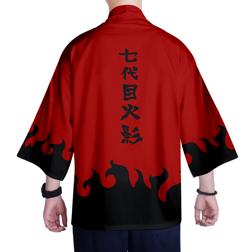 Japanese Kimono Style Jacket Red Inside Collar - - Hand Dye Decorated Sash and Collar - Geisha Style - Special Edition