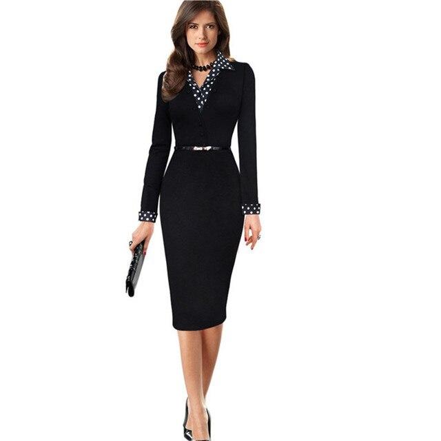 À Élégantes Femmes Nouveau Robes Printemps Bureau Longues Manches 2WEHeD9YI