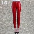 Черный красный натуральная кожа брюки плюс размер овчины сращены стретч карандаш брюки pantalon femme pantalones mujer LT814
