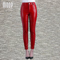 Black red genuine leather pants plus size lambskin spliced stretch pencil pants trousers pantalon femme pantalones mujer LT814