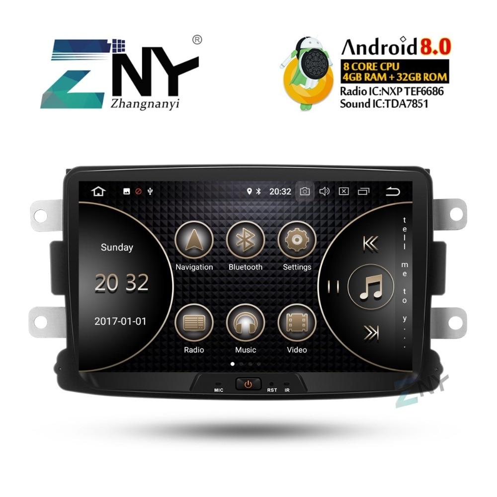 8 IPS Android 8.0 Car Stereo GPS For Renault Duster Dacia Sandero Logan Captur +Optional DSP/Carplay/DAB+/64GB ROM/Parrot BT