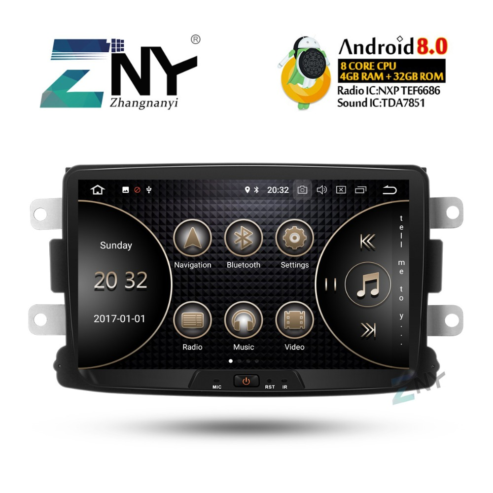 8 IPS Android 8.0 Car Stereo GPS For Renault Duster Dacia Sandero Logan Captur +Optional DSP/Carplay/DAB+/64GB ROM/Parrot BT