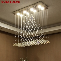 Crystal Rectangle Chandelier Suspension Lamp LED Ceiling Pendant Lamps Ceiling Chandeliers Pendant Lamps for Dinning Room Living
