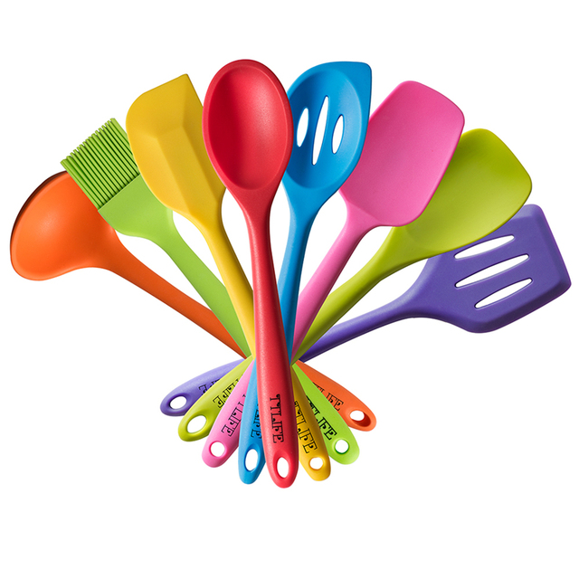 Ttlife 2018 Newest Heat Resistant Cooking Utensil Set Non Stick Silicone Kitchen