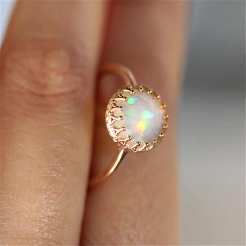 Rainbow Round Fire Opal Ring Couple Mood Ring Gold Color Rings for Women Wedding Jewelry Anillos Mujer E5X696
