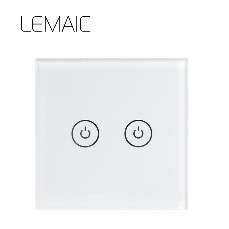 LEMAIC WiFi Smart Switch 2 Gang Light Wall Switch APP Remote Control Panel Touch Screen APP Remote Control Smart Home