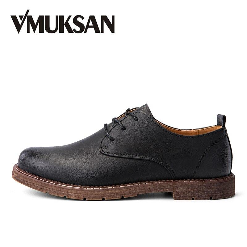 Vmuksan Обувь Для мужчин новый Дизайн повседневные мужские туфли коричневый жесткий-носить модные повседневная обувь Человек