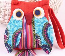 30pcs/lot wholesale ! Ladys Owl Shape Cotton Cloth Small Coin Purse Children Zipper Cute Money Bag Wallet