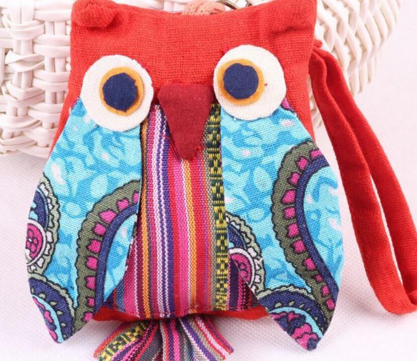 30pcs/lot wholesale ! Ladys Owl Shape Cotton Cloth Small Coin Purse Children Zipper Cute Money Bag Wallet