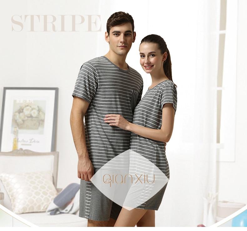 Summer   Pyjamas Couples Casual Striped Pajama Sets Women Modal Cotton Pajamas Female O-Neck Collar Sleepwear Suit