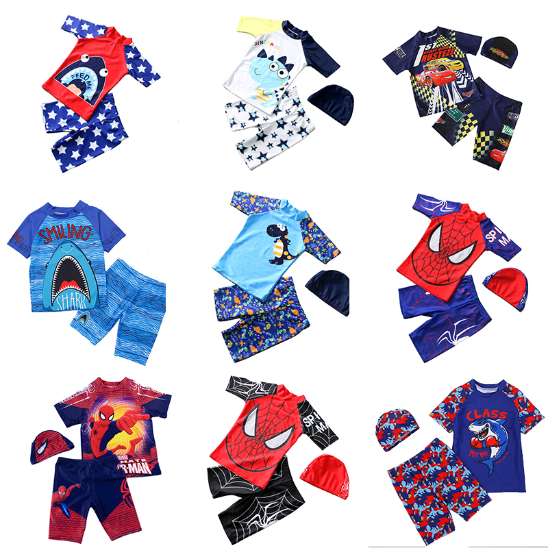 Cartoon Boys Swimsuit Two Piece Children Swimwear Trunks Rasg Guard Bathing Suit With Hat UPF50+ Sun Protective Beach Wear