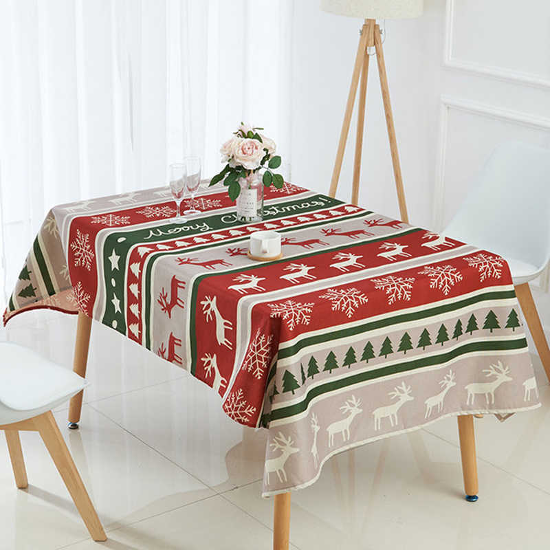 Nordic Xmas Tablecloth Rectangle Santa Claus Table Cover Snowflakes Deer Tree Pattern Linen Cotton Table Cloth Christmas Decor