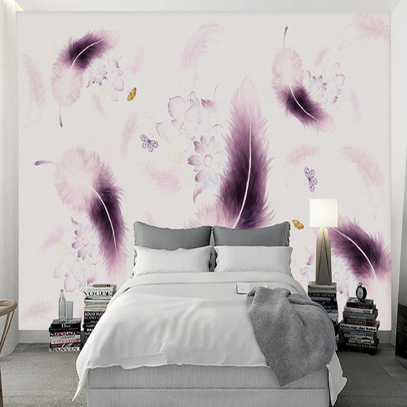 Desktop Wallpaper for Walls 3 d Photo Wallpaper Wall Mural Modern Living Room Decor Wall Papers Room Decor Custom Purple Feather custom 3d wall mural wallpaper for bedroom photo background wall papers home decor living room modern painting wall paper rolls
