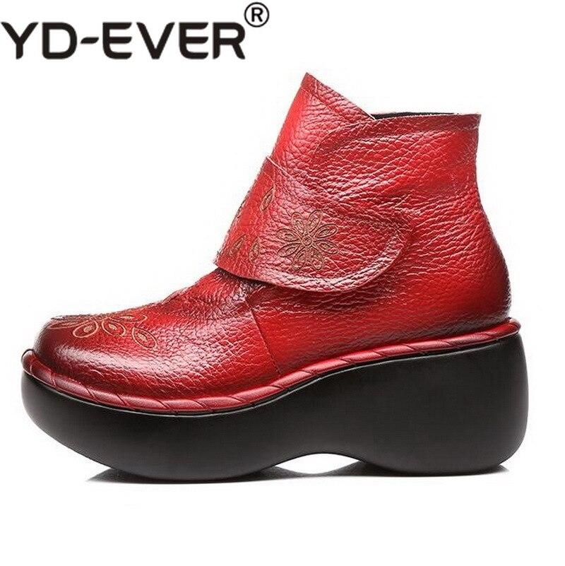 Scarpe Fondo Donne rosso Stivali Delle Inverno Il Mano Fatti Nero Caviglia Autunno Tacco Della Di Cuoio Genuini Piattaforma A Alto Con Morbido qqgEPwxr