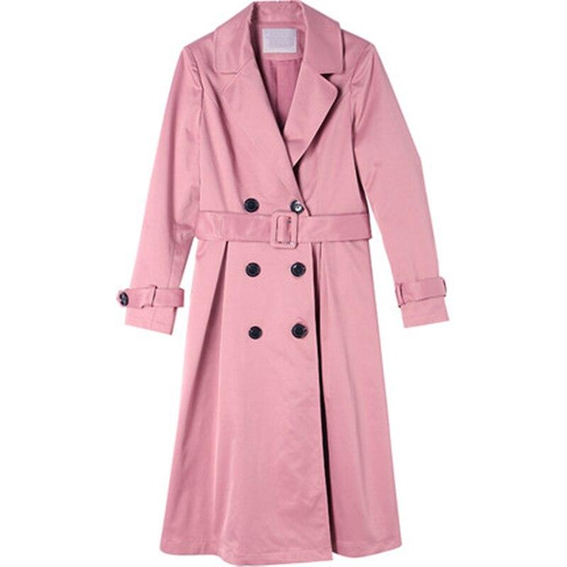 Women Windbreaker Spring Autumn New Fashion Coats Casual Belt Trench Coats Women's Slim Quality Long sleeve Elegant Coats