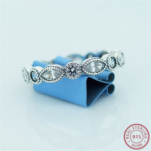 Image 3 - Classic Stackable Rings for Women 925 Sterling Silver Jewelry with Alternating Brilliant cut & Marquise cut Cubic Zircon FLR042