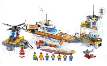 855pcs City Coast Guard Head Quarters Ship Helicopter Boat 02081 Model Building Blocks Children Toys Bricks Compatible With lego 1