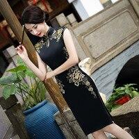 Bán Hot Đen Trung Quốc Phụ Nữ Satin Sườn Xám Hàng Đầu Thêu Cái Yếm Cổ Điển Buổi Tối Bên Váy Váy Hoa Kích Thước M-XXXL Z170804