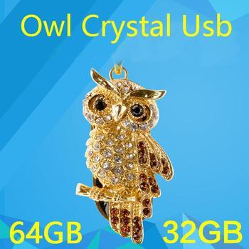 Mini Crystal Owl USB Flash Drive Necklace(Gold) Waterproof 8GB 16GB 32GB 64GB 128GB Flash Memory PenDrive 1TB 2TB Stick Key Card