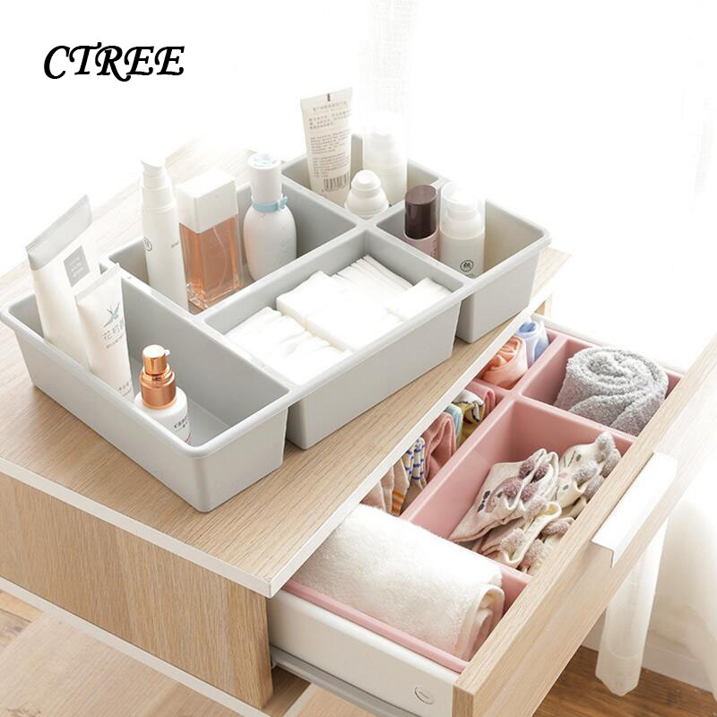 CTREE Jewelry Cosmetic Organizer Office Storage Drawer Desk Makeup Case Plastic Makeup Brush Box Lipstick Control Holder C900