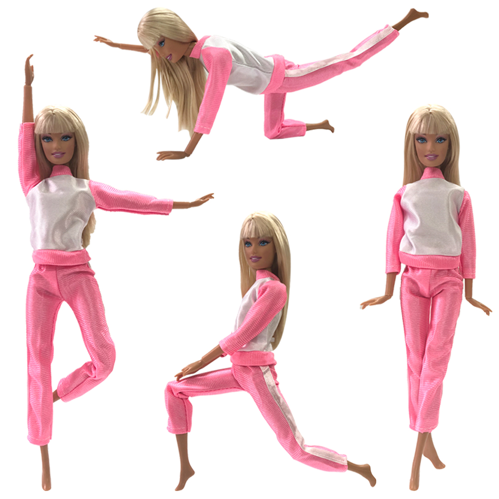 NK One Set Doll Pink Clothing Fashionable Outfits Casual Suits For Barbie Doll Gift Baby Toy Doll Accessories Child Toy 47A DZ