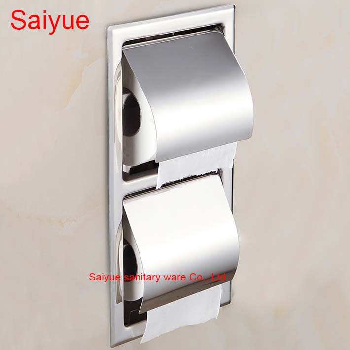 New wall Mounted Concealed Bathroom Accessories 304 Stainless Steel Mirror WC Toilet Lavatory Tissue Rack Roll Paper Box Holder new pure luxury white painting toilet lavatory wc paper holder with diamond roll tissue porte papier bathroom accessories