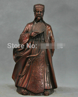 0 12'' China Ancient Great Strategist Zhuge Liang Hold Fan Bronze Statue