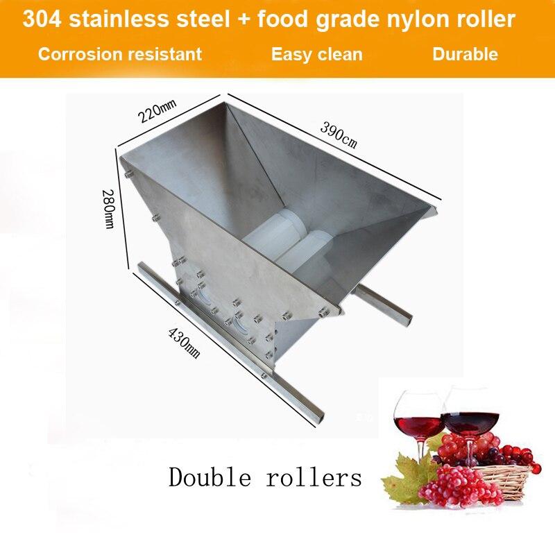 Broyeur de fruits Double rouleaux Portable Pulper pomme Scratter cidre jus de vin presse broyeur raisin broyeur vin rouge brassage-in Moulins from Maison & Animalerie    2
