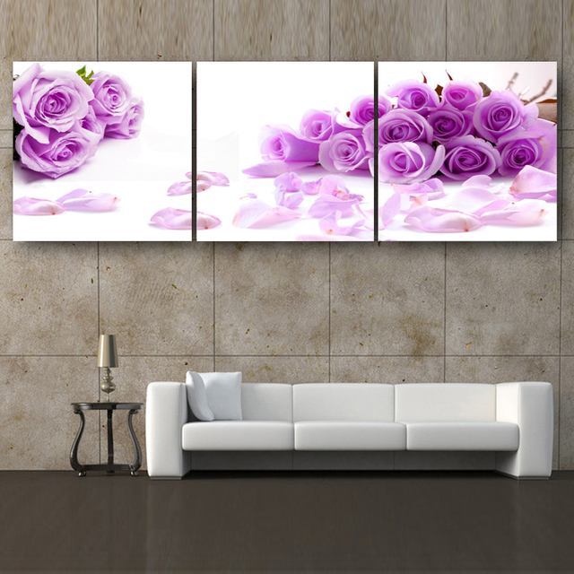 3 Panels Print Canvas Purple Rose Flowers Painting On Canvas Wall Art  Picture Home Decor THR123
