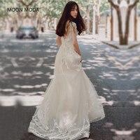 Moon Moda пляжные Свадебные платья 2018 A Line Кружево Большие размеры Свадебные платья платье реальное фото Vestido De Noiva