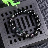 Shippin Nouveau Naturel Noir Obsidienne Pierre Perlée Bracelet Sculpté Renard Chanceux Bouddha Perles Rondes Strand Bracelets Jades Bijoux