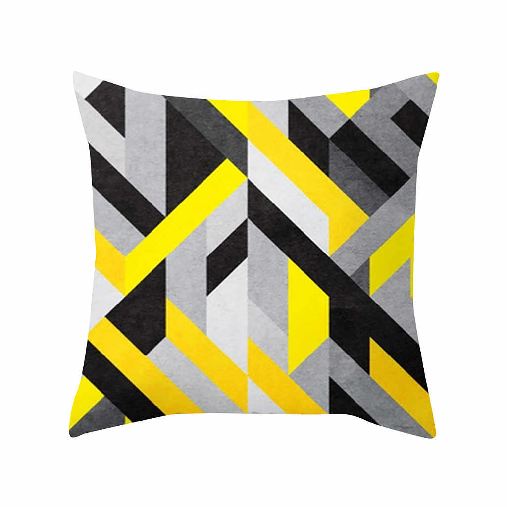 Nordic Yellow Abstract Cushion Cover Pillowcase Polyester Pillow Covers Sofa Seat Soft Throw Pillow Case Home Decor 45X45 CM
