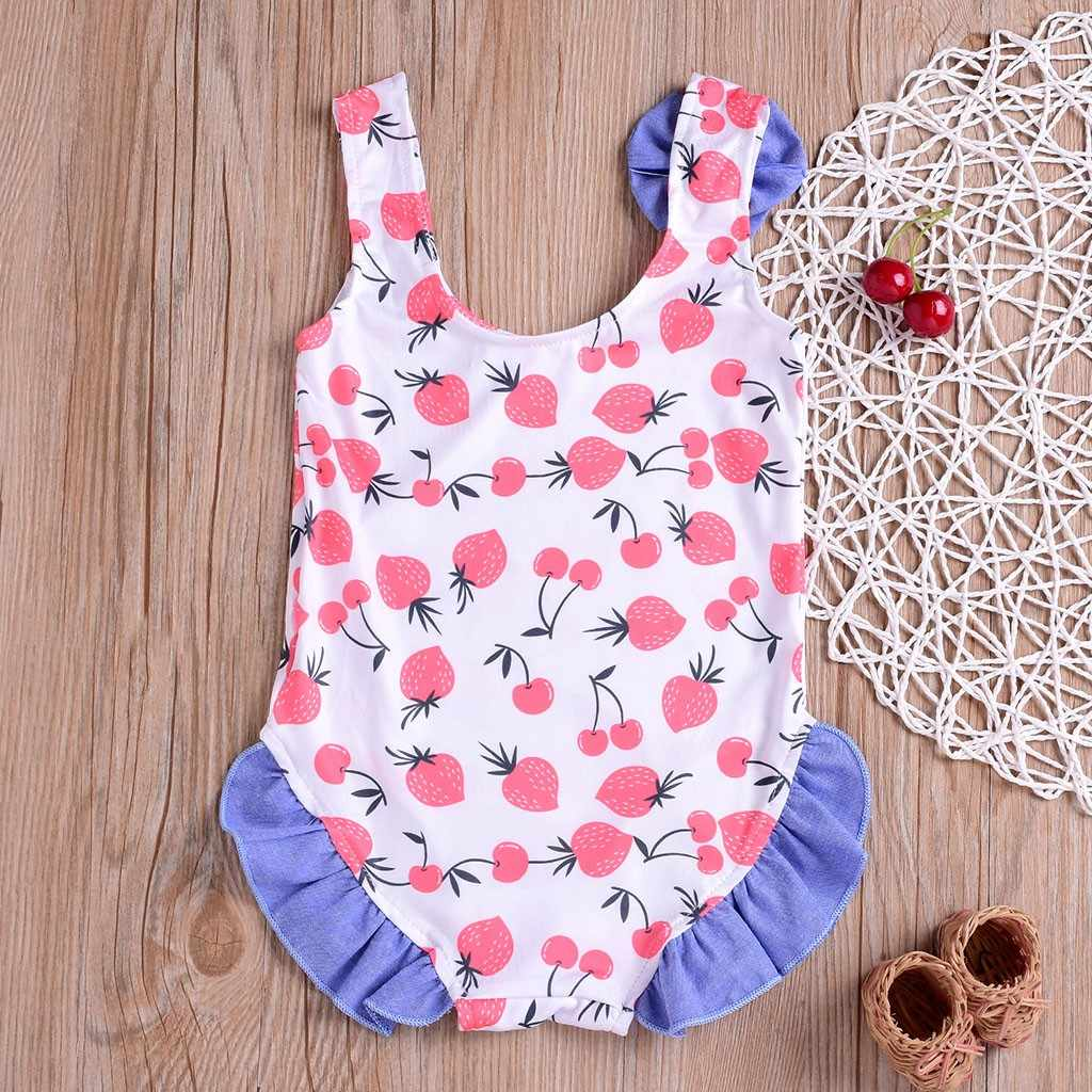 47af5869dcd ... New Trendy Kids Girl Beachwear Clothes 2019 Romper Children Girls  Bikini Fruits Bowknot Beach Swimsuits Bathing ...
