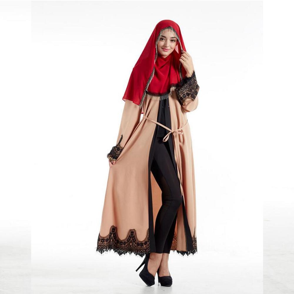 New Fashion Elegant Lace Muslim Långärmad Lin Abaya Arab Turkisk - Nationella kläder - Foto 4