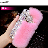 All Handmade Furry Shell Crystal Rex Rabbit Fur Back Cases Plush Diamond Covers Bag For Samsung