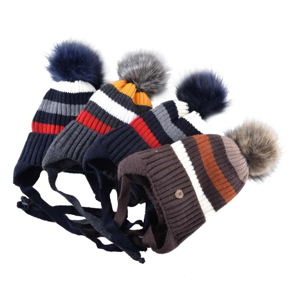 Crianças Chapéu E Cachecol Conjuntos Cap Ear Flap Inverno Quente Das Meninas Dos Meninos Malha Colorido Stripe Gorros Crianças Faux Fur Pompom grosso Gorro