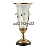 European style decorative vase glass inlaid bronze floral flower vase Home Decor