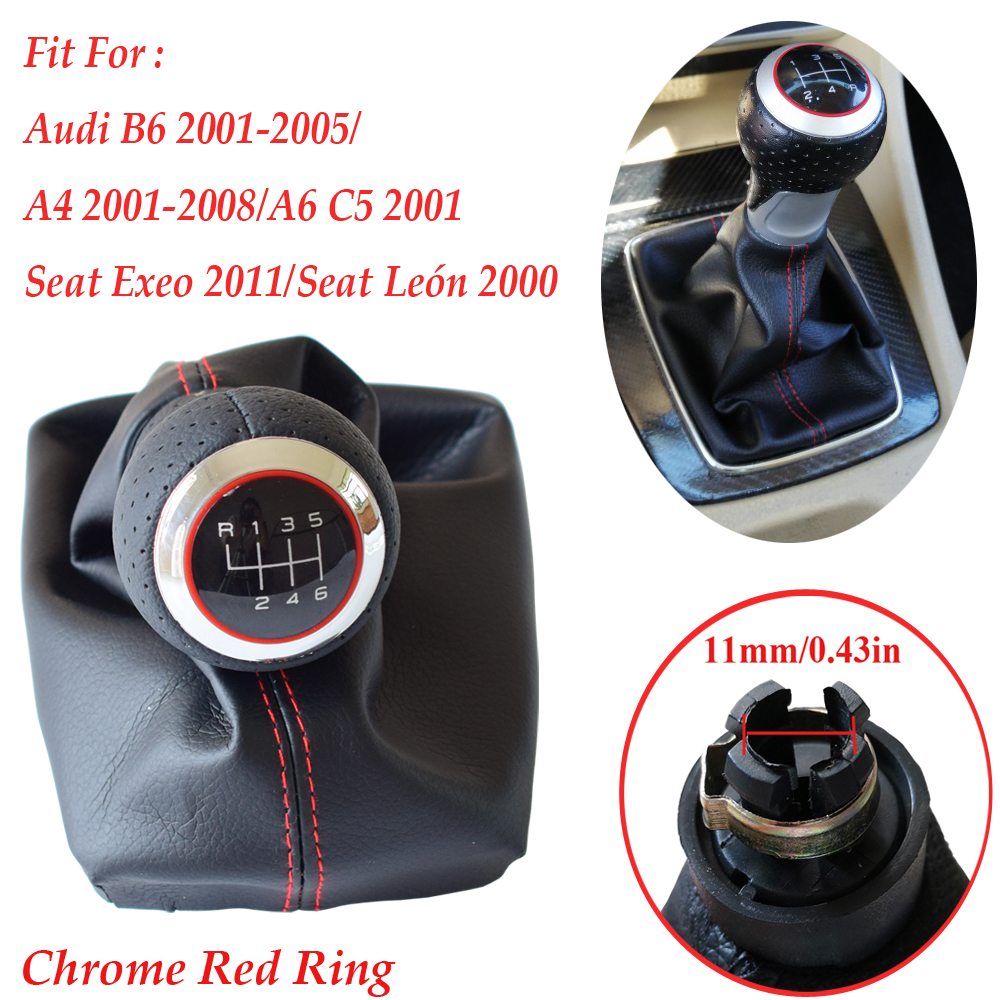 Matte Chrome Red Ring Gear shift knob boot frame For <font><b>Audi</b></font> <font><b>A4</b></font>(2001-2008)B6(2001-2005)A6 C5 (2001)For Seat Exeo(<font><b>2011</b></font>)Leon(2000) image