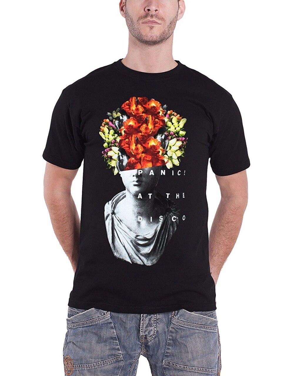 T Shirt Creator Fashion Short O-Neck Mens Panic At The Disco T Shirt Flower Head Case Band Logo Official Mens Black T Shirts