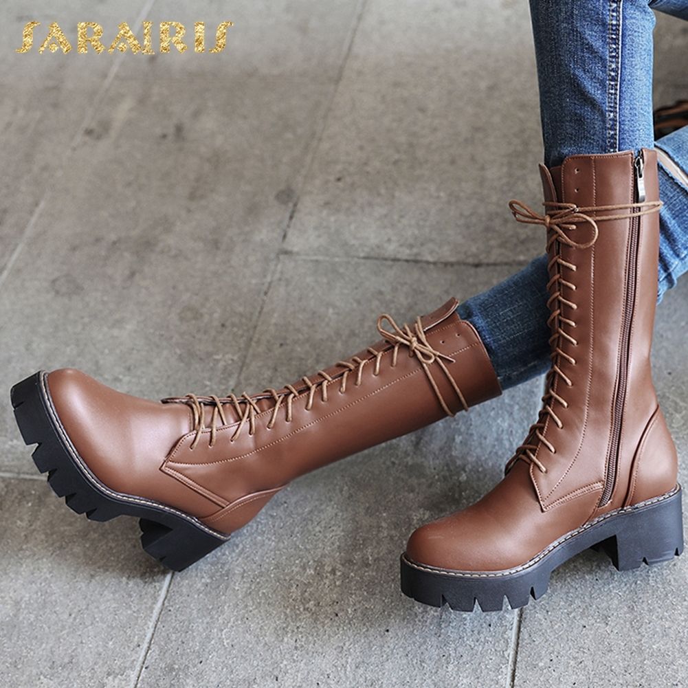 SARAIRIS Brand new plus Size 34-43 Zip Up Mid Calf Boots Woman Shoes Platform Chunky Heels Add Fur Winter Shoes Woman BootsSARAIRIS Brand new plus Size 34-43 Zip Up Mid Calf Boots Woman Shoes Platform Chunky Heels Add Fur Winter Shoes Woman Boots