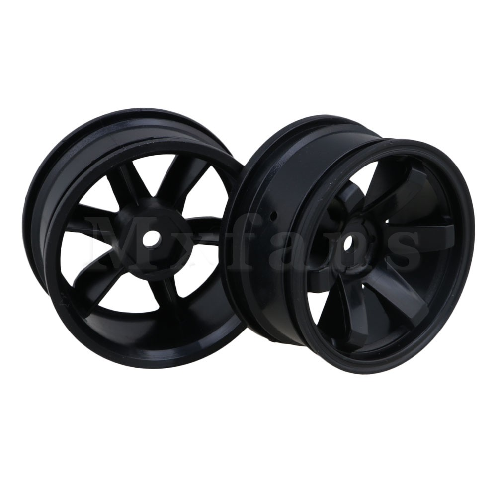 Mxfans Black Plastic 52mm Dia 6 Claw Pulling Wheel Rims for RC 1/10 On Road Racing Car Pack of 4 racing wheel controller for nintendo 3ds black