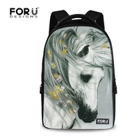 Wholesale White Crazy Horse Print Laptop Backpack 17 Inch Large Capacity Animal Men S Travel Daypack