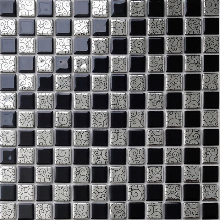 qara qarışıq gümüşü rəng kristal şüşə mozaika plitələr - Ev dekoru - Fotoqrafiya 2