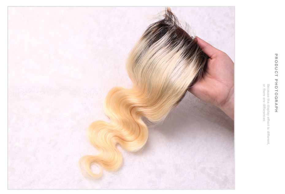 HTB10o1wX.LrK1Rjy0Fjq6zYXFXaR Facebeauty Brazilian Human Hair 2 Tone Dark Roots Ombre Blonde Hair 3 Bundles With Lace Closure 1B/613 Body Wave Color Hair Weft
