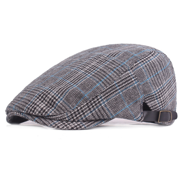 d90b78729 US $5.8 30% OFF|2018 Autumn Winter Men Cap Hats Berets British Western  Style Wool Advanced Flat Ivy Cap Classic Vintage Striped Beret Cap-in  Berets ...