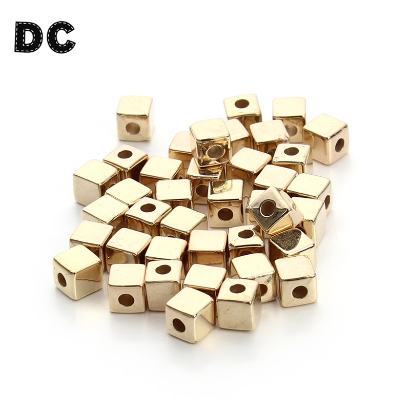 DC 200pcs/lot 3mm/4mm/5mm Rhodium/Gold Plated CCB Plastic Square Cube Spacer Beads with Big Hole Seeds for Jewelry Making